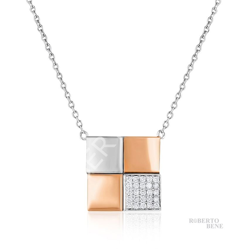 0.13 Carat F Color VS Clarity Diamond Necklace | Roberto Bene