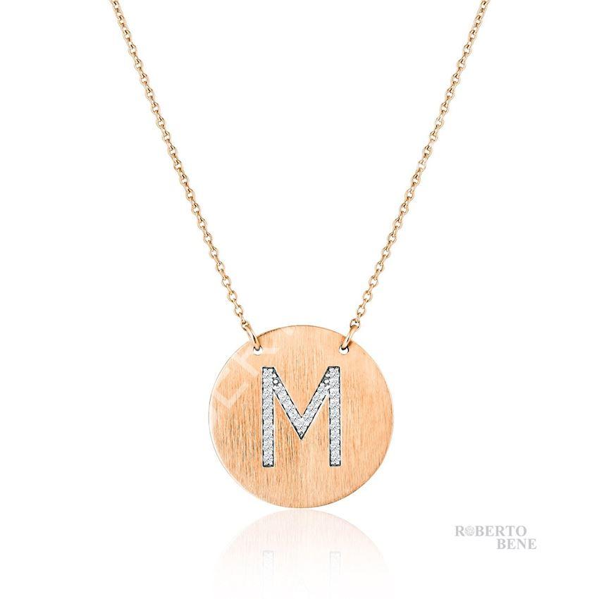 0.14 Carat Design M Letter Diamond Necklace   Roberto Bene