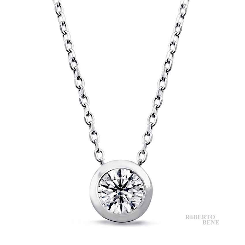 0.40 Carat Solitaire Diamond Necklaces | Roberto Bene