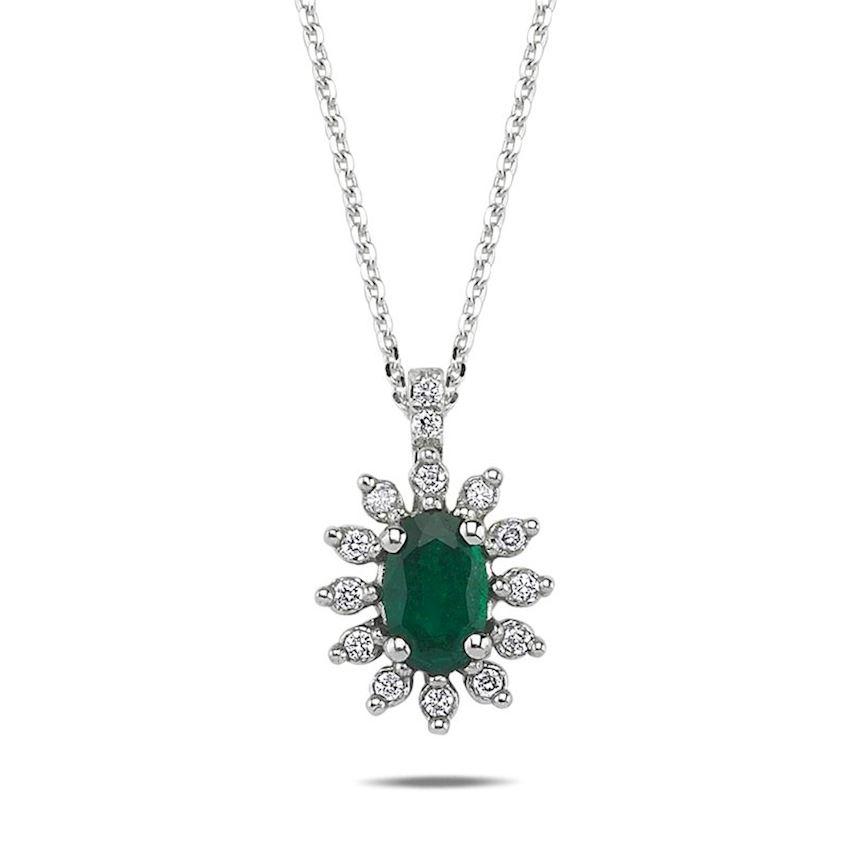 0.49 Carat Emerald Diamond Necklace | Roberto Bene