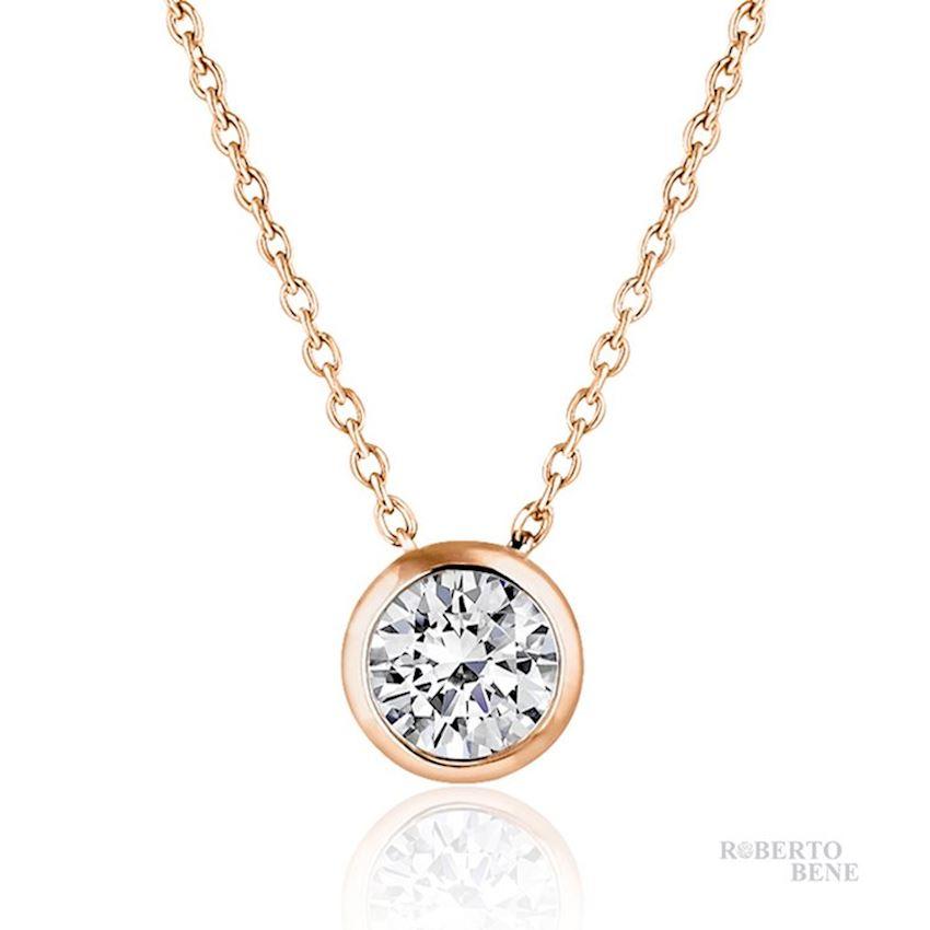 0.50 Carat F Color Solitaire Diamond Necklace | Roberto Bene