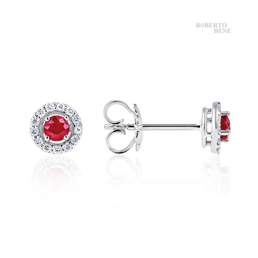0.69 Carat Ruby Solitaire Diamond F Color Earrings | Roberto Bene