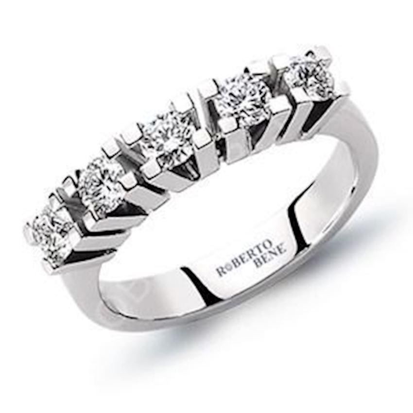 0.75 Carat F Color Five Stones Diamond Ring | Roberto Bene