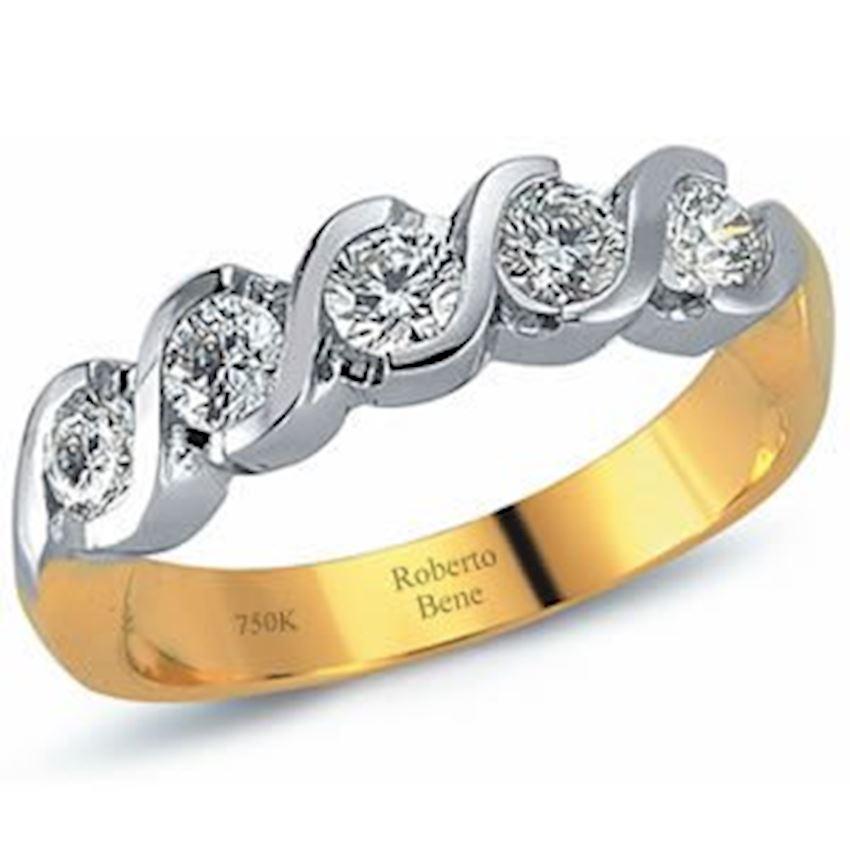 0.77 Carat H Color VS2 Clarity Five Stones Diamond Ring | Roberto Bene