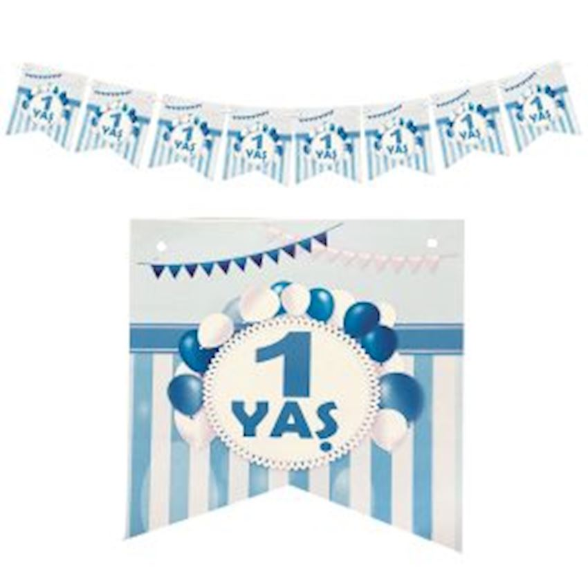 1 Age Paper Flag Pennant 15cm Blue Event & Party Supplies