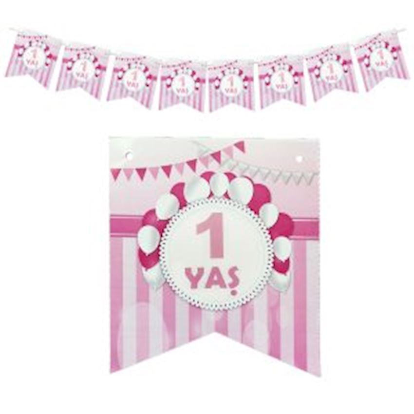 1 Age Paper Flag Pennant 15cm Pink Event & Party Supplies
