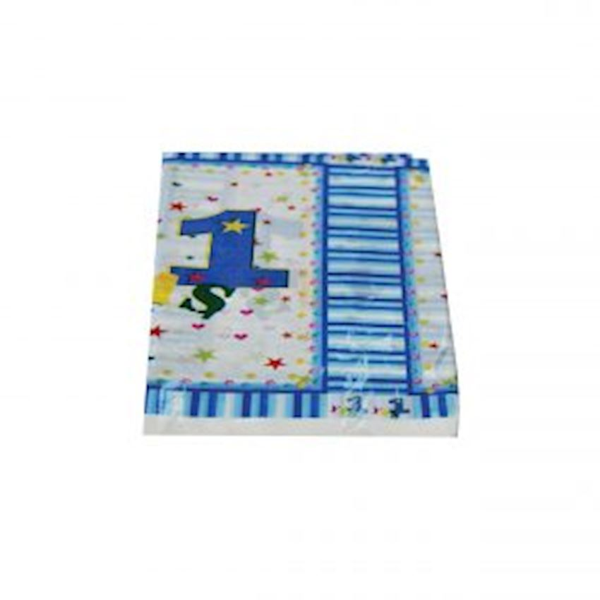 1 Birthday Plastic Table Cloth Blue Event & Party Supplies