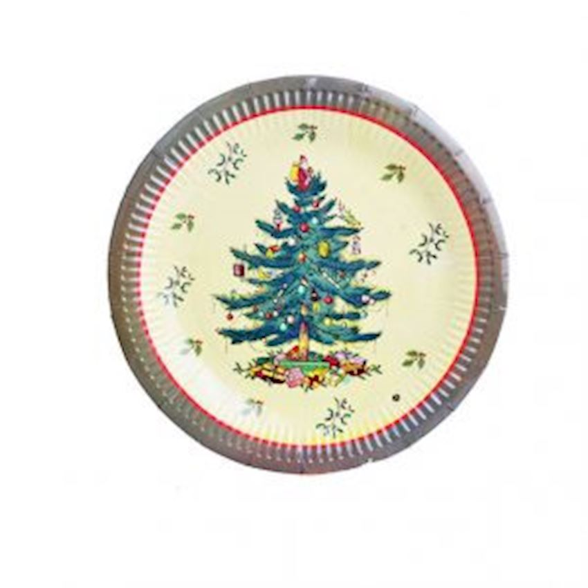 10 pcs Pine Tree Patterned Plate Green Christmas Decoration Supplies