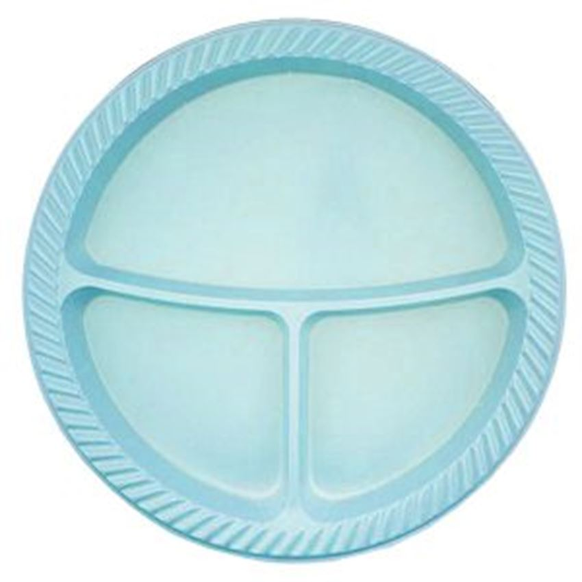 10 pcs Plastic 3 Compartment Plates Blue 25cm Event & Party Supplies