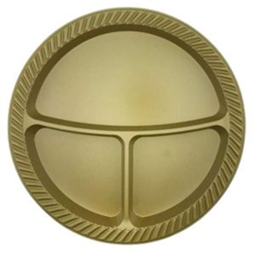 10 pcs Plastic 3 Compartment Plates Gold 25cm Event & Party Supplies
