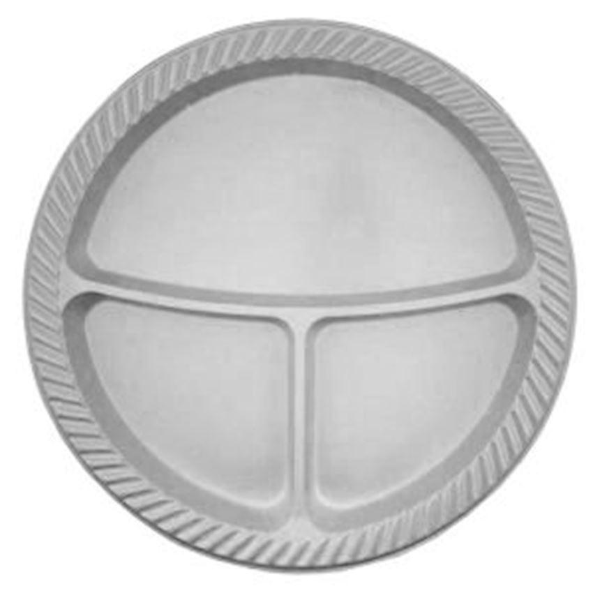 10 pcs Plastic 3 Compartment Plates Gray 25cm Event & Party Supplies