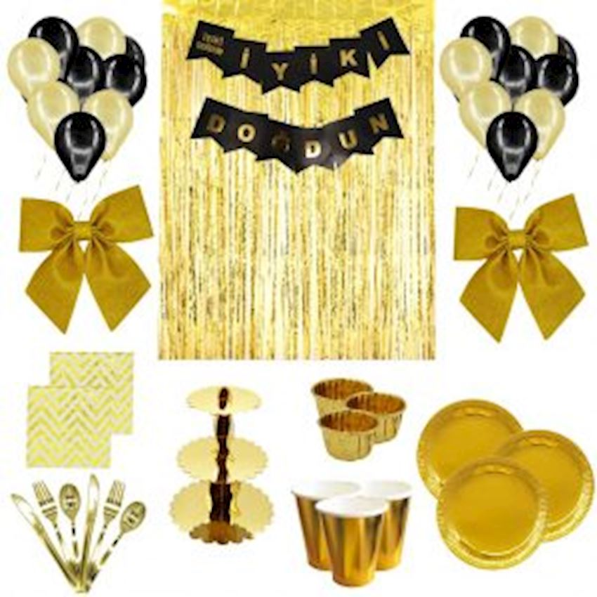 10 Person Adult Party Set Gold 143 Pieces Event & Party Supplies