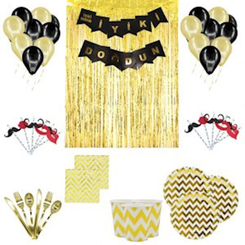 10 Person Adult Party Set Gold 150 Pieces Event & Party Supplies