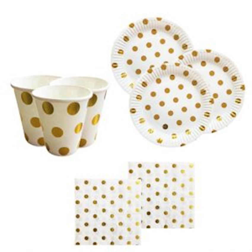 10 Person Metalized Plates With Glasses Napkin Set Gold Event & Party Supplies