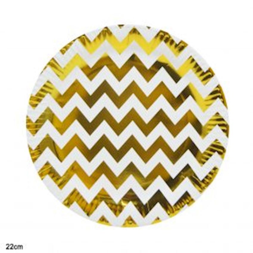 10 Pieces Metalized Zig Zag Cardboard Plates Gold 22cm Event & Party Supplies