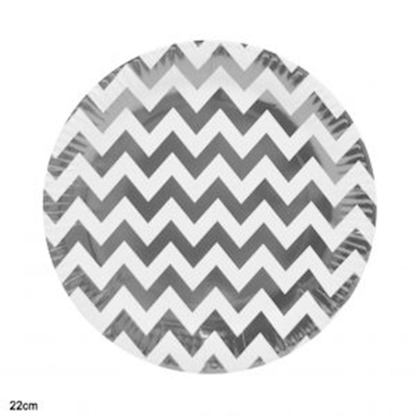 10 Pieces Metalized Zig Zag Cardboard Plates Silver 22cm Event & Party Supplies