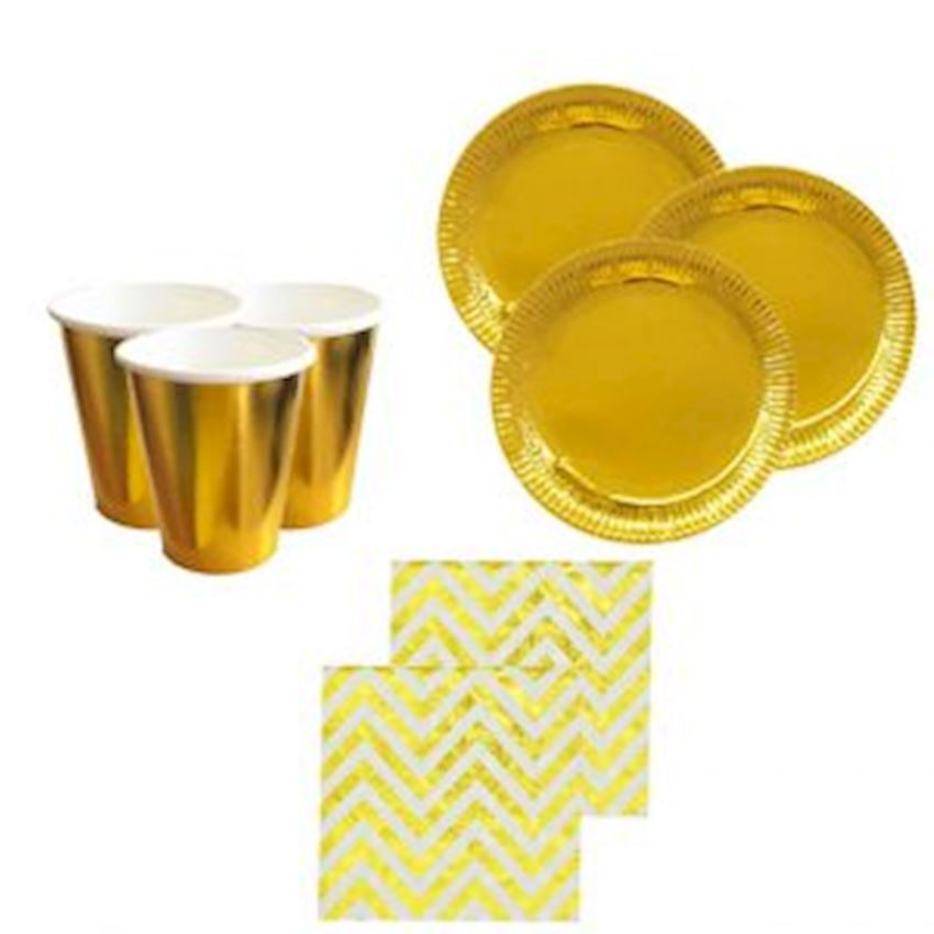 10 Seater Metalized Plate Glass Napkin Set Gold Event & Party Supplies