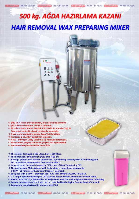 100 - 2000 kg HAIR REMOVAL WAX PRODUCTION MIXERS