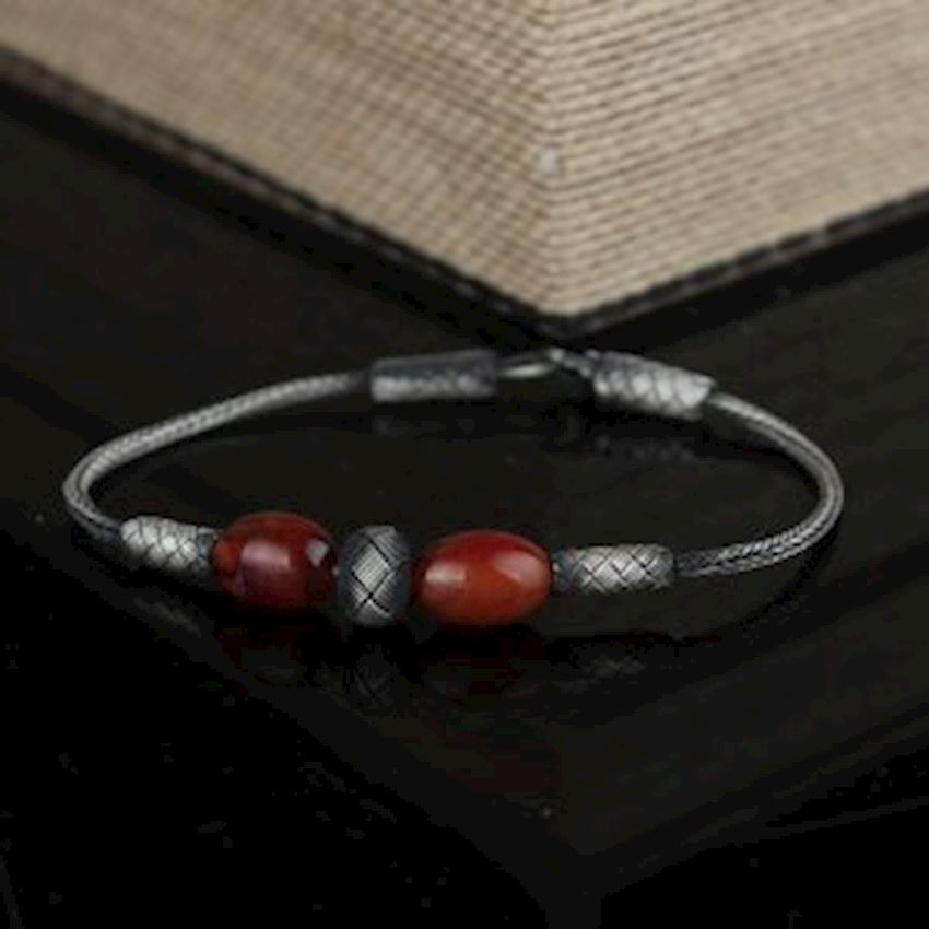 1000 Carat Hand Made Bracelet with Amber Stone