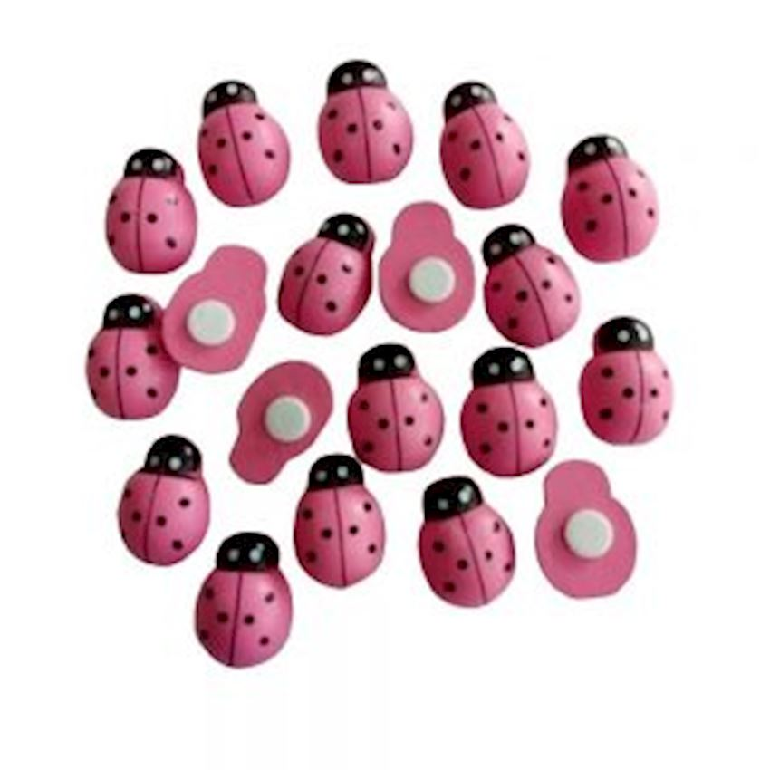 100pcs Self Adhesive Sticker Ladybug 1cm Pink Event & Party Supplies