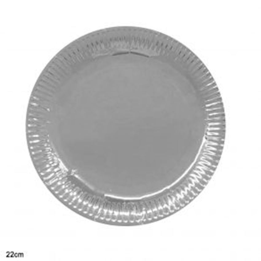10pcs Metallized Cardboard Plate Silver 22cm Event & Party Supplies
