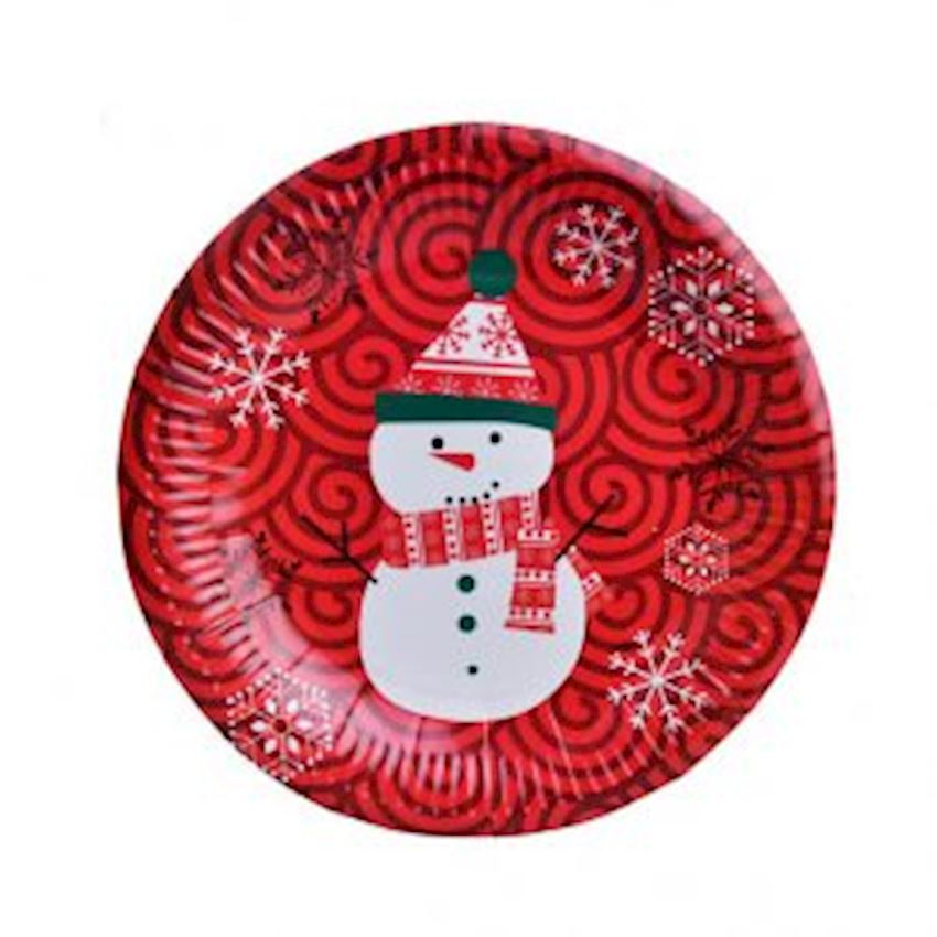 10pcs Snowman Plate Red Event & Party Supplies