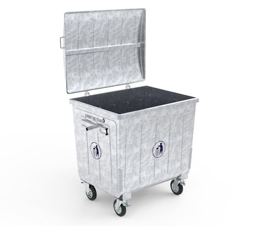 1100 lt metal hot galvanized waste bin