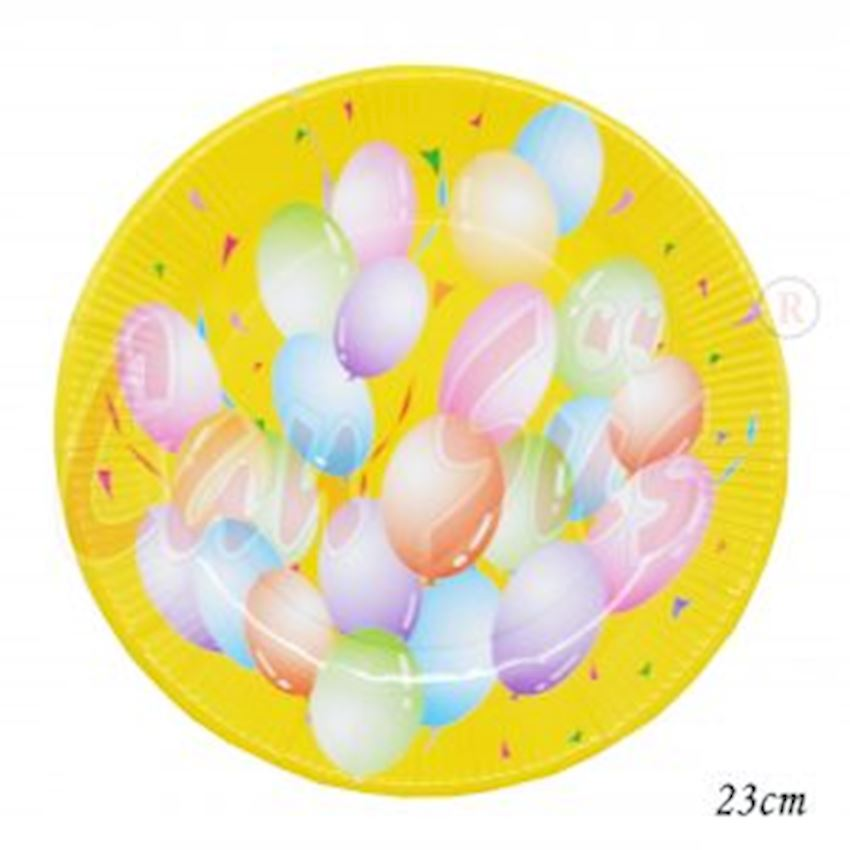 12 Balloon Round Cardboard Party Plate 23cm Event & Party Supplies