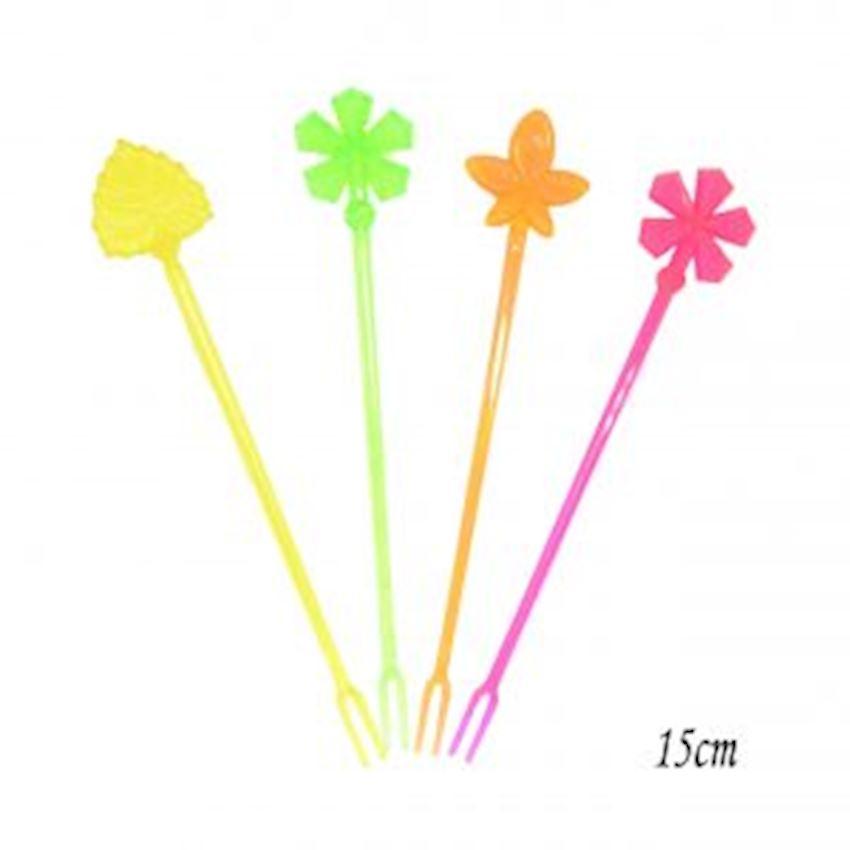 12 pcs Colorful Plastic Cocktail Fork 15cm Event & Party Supplies