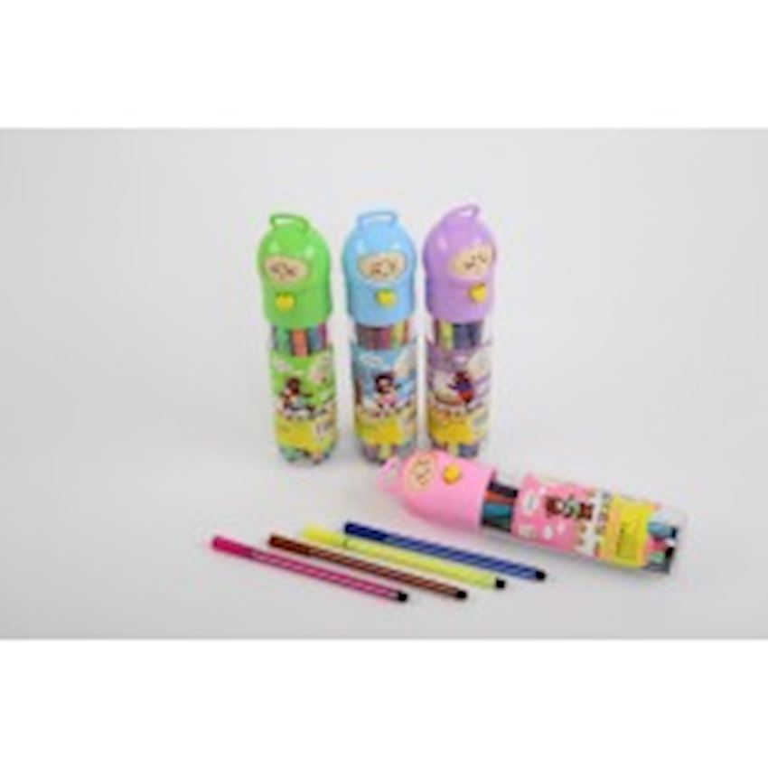 12 Pcs Smiling Face Tube Felt Pen Paint Brushes
