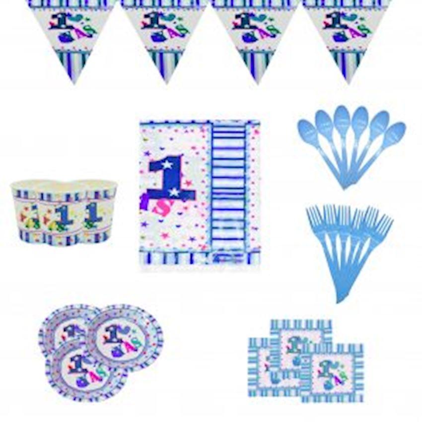 12 Persons 1 Age Party Set Blue 150 Pieces Event & Party Supplies