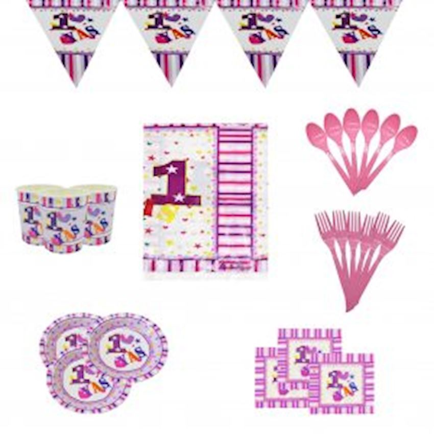 12 Persons 1 Age Party Set Pink 150 Pieces Event & Party Supplies
