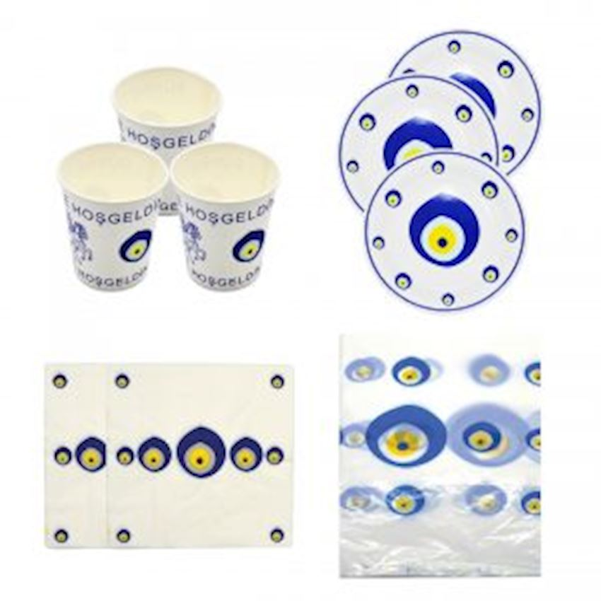 12 Seater Evil Eye Bead Set 45 Pieces Event & Party Supplies