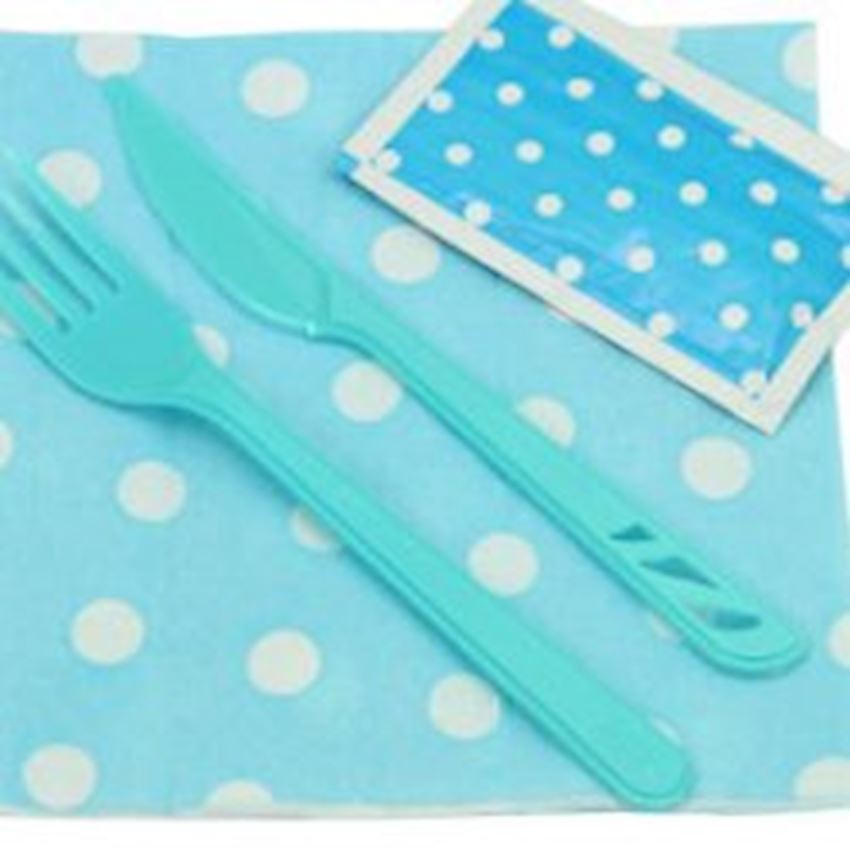 12 Seater Polka Dot Dining Set Blue Event & Party Supplies