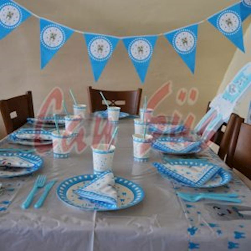 12 Teeth Toast Party Set Blue Event & Party Supplies