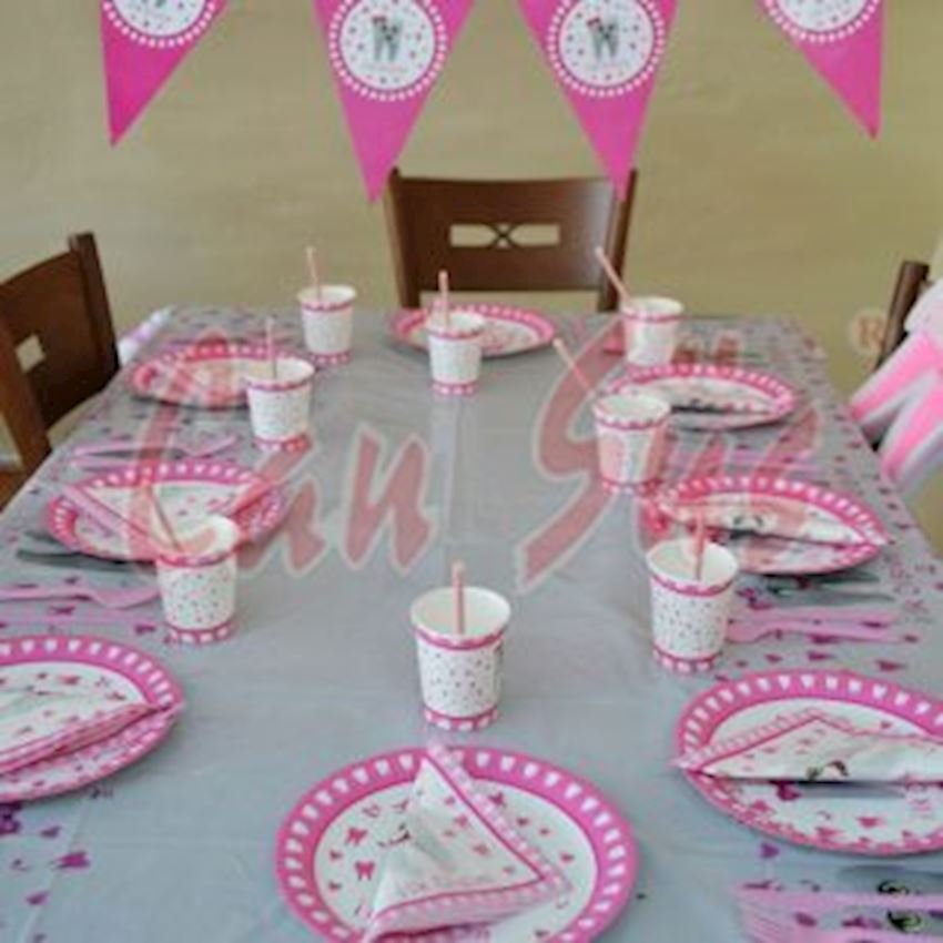 12 Teeth Toast Party Set Pink Event & Party Supplies