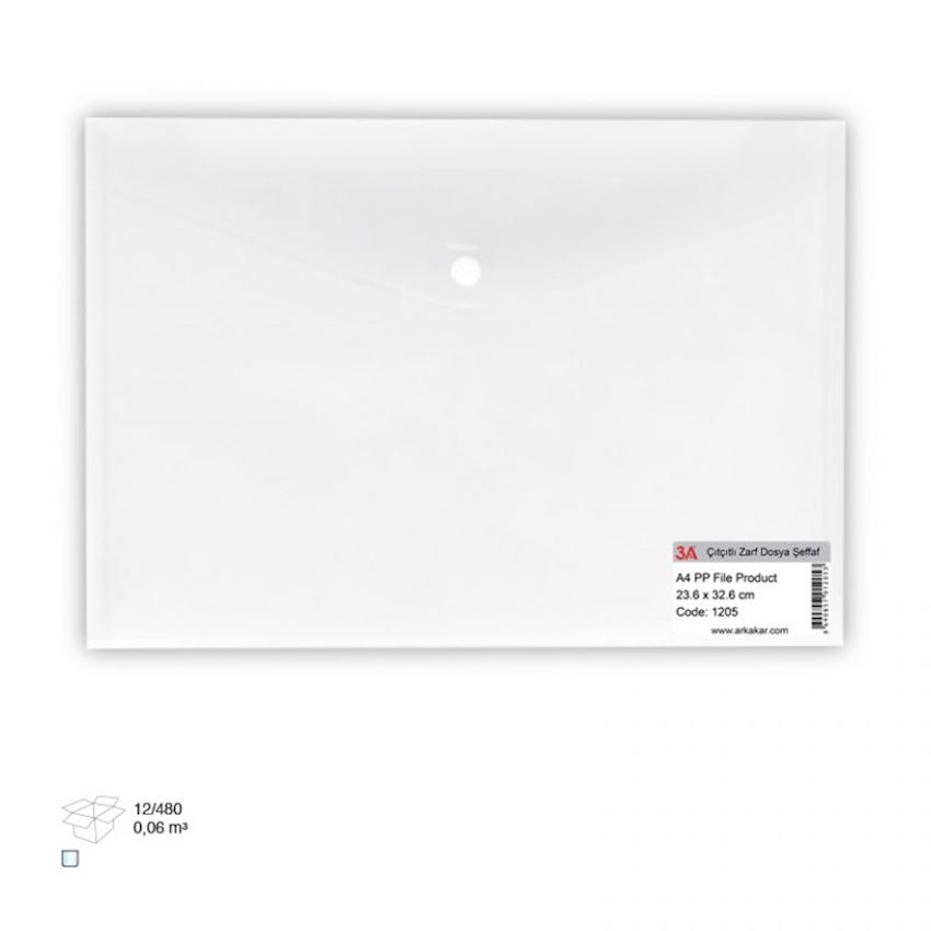 1205 3A Clear Bag w Button Filing Products