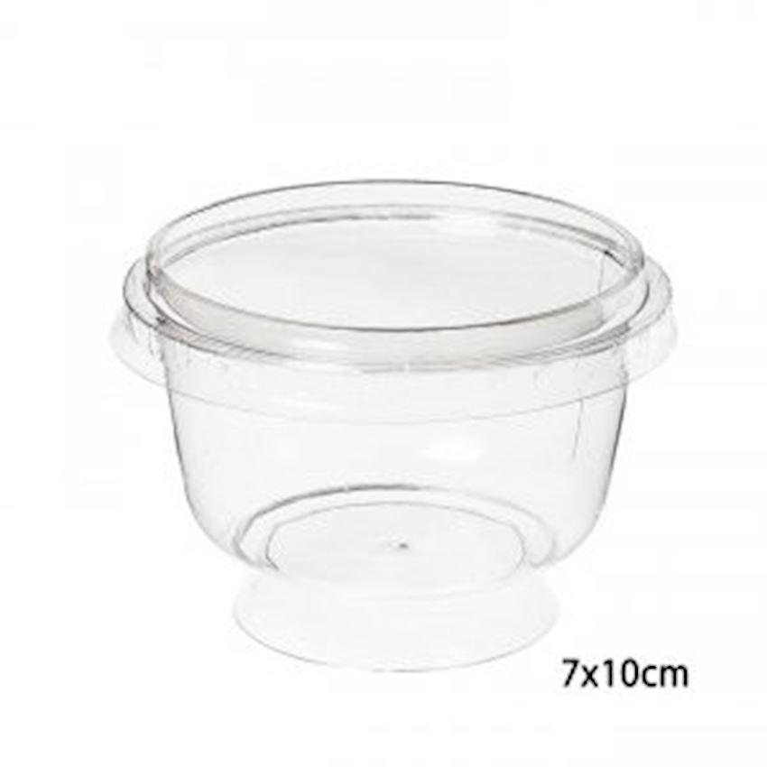 12li Transparent Dessert Bowl With Legs Cover 200cc Event & Party Supplies