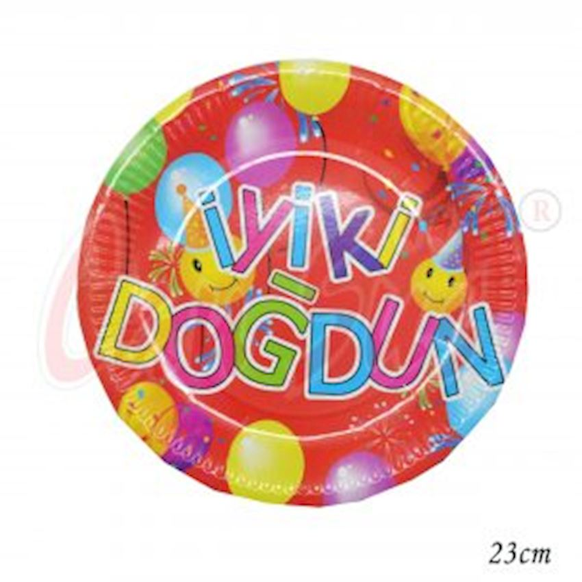 12pcs Good Happy Birthday Cardboard Round Plate 23cm Event & Party Supplies
