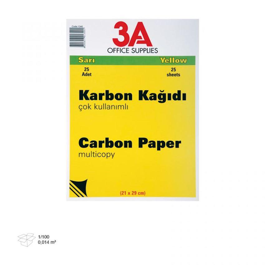 1340 3A Carbon Paper Yellow 25 pcs Pack Carbon Paper