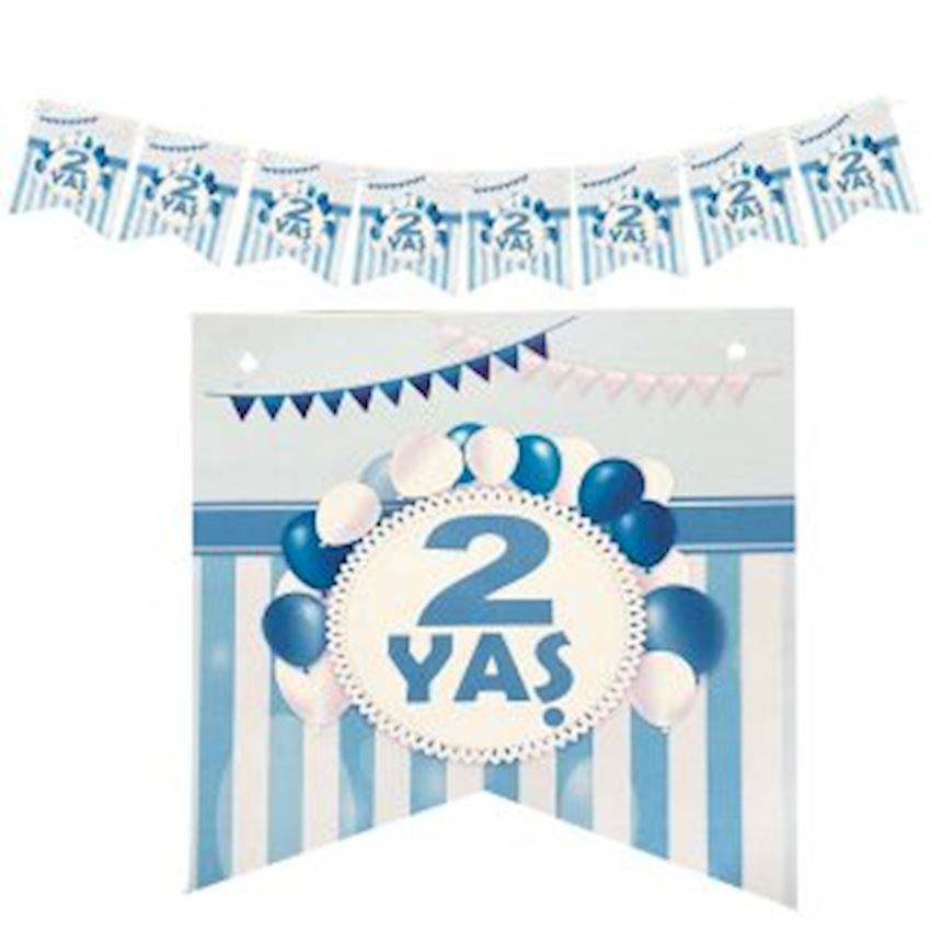 2 Age Paper Flag Pennant 15cm Blue Event & Party Supplies