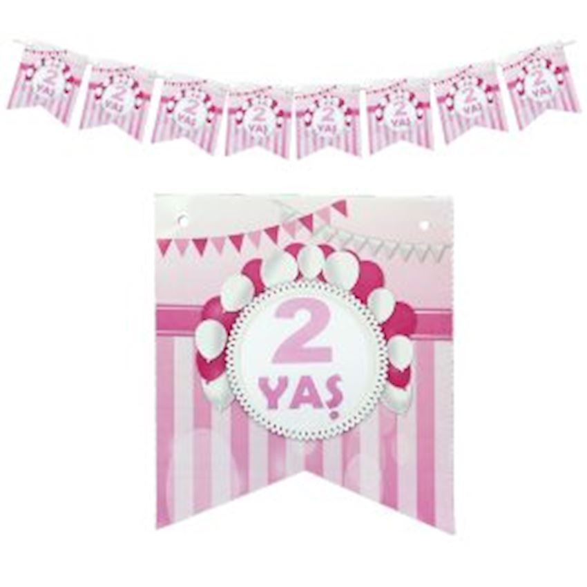 2 Age Paper Flag Pennant 15cm Pink Event & Party Supplies