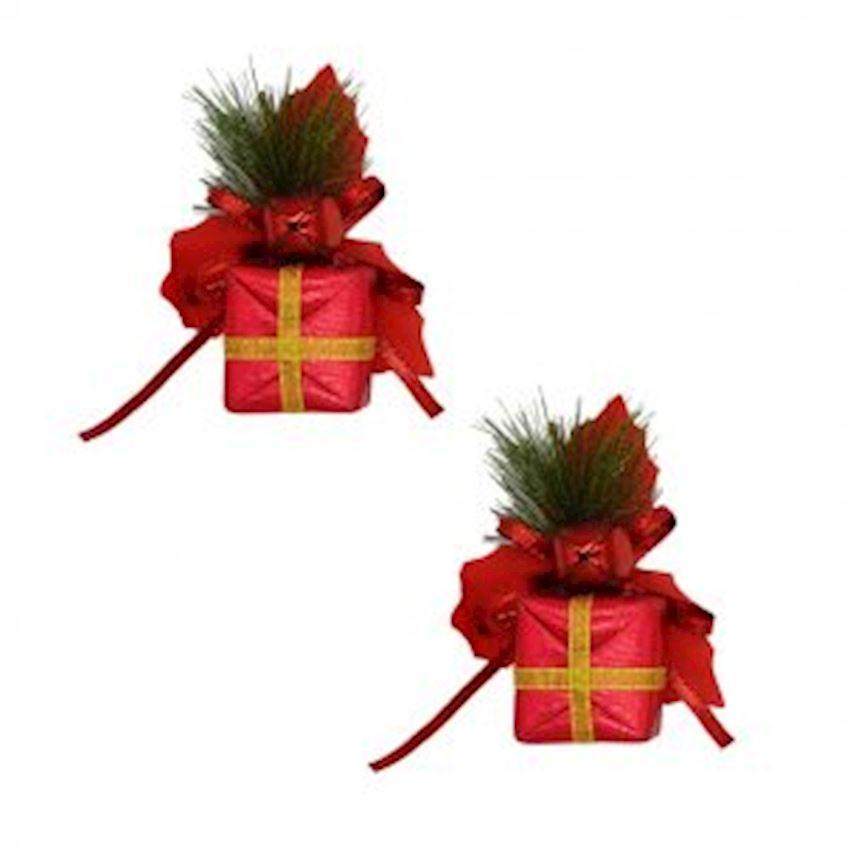 2 pcs Gift Box Christmas Ornament Red Christmas Decoration Supplies