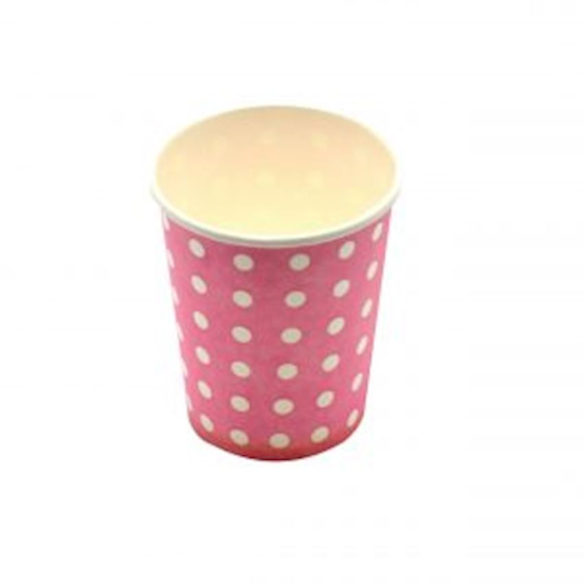20 Polka Dot Cardboard Glass Pink Event & Party Supplies
