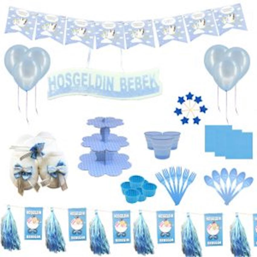 20 Seater Welcome Baby Lohusa Set Blue 240 Pieces Event & Party Supplies