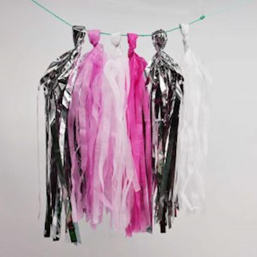 20li Paper Pompon Pendant Ornament Pink 4mt Event & Party Supplies