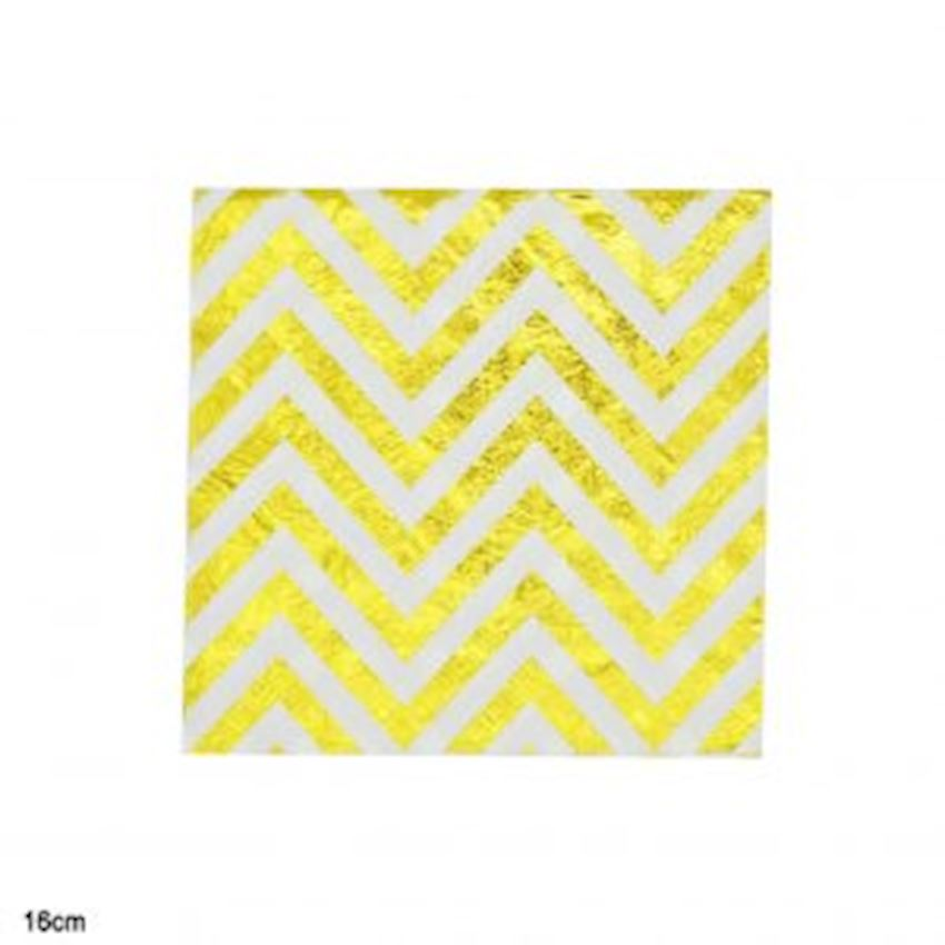 20pcs Gold Zig Zag Paper Napkin White 16cm Event & Party Supplies