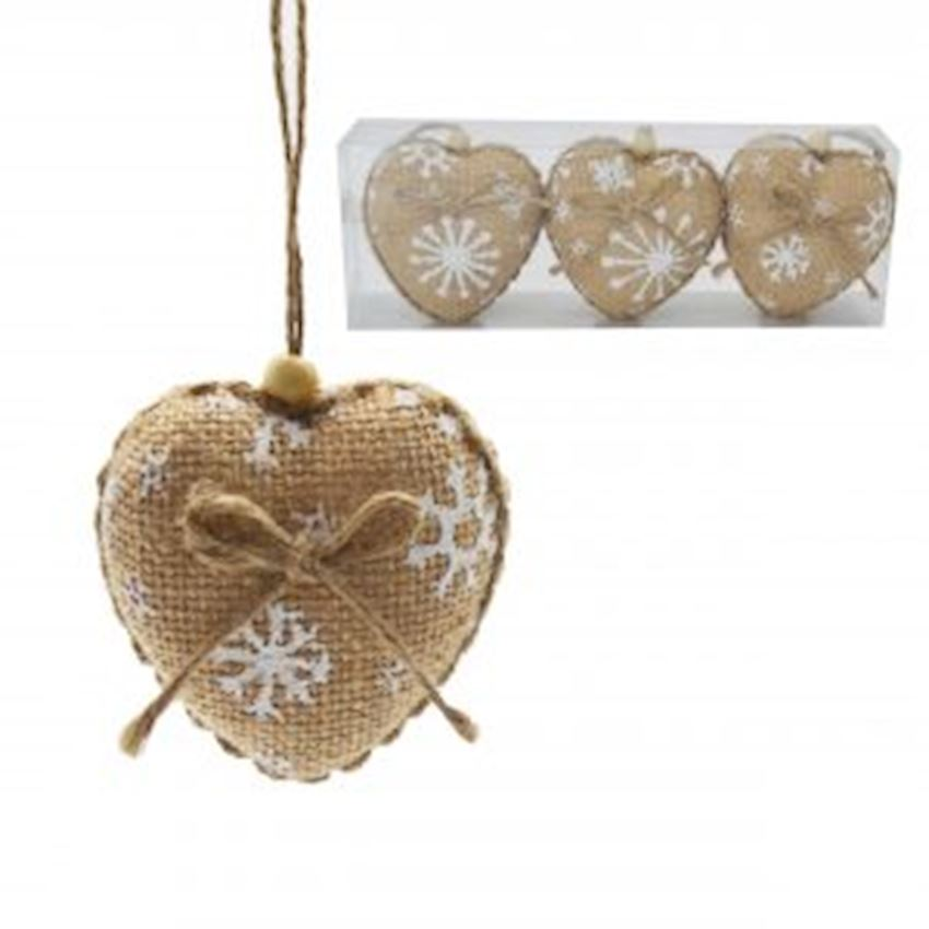 3 Pieces Jute Fabric Covered Heart Cici Ornament Brown 8cm Christmas Decoration Supplies