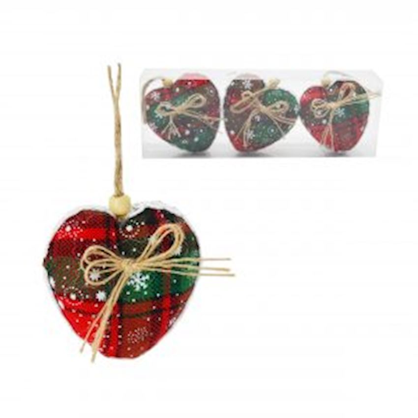 3 Pieces Jute Fabric Covered Heart Cici Ornament Red 8cm Christmas Decoration Supplies