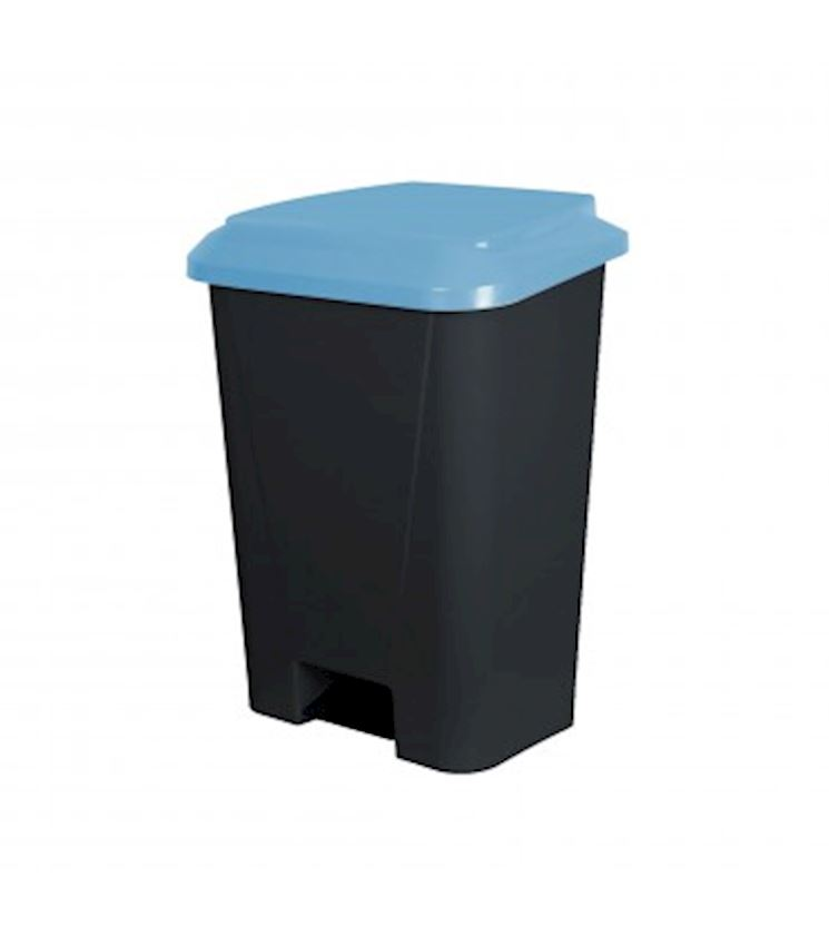 30 Liters Pedal Dustbin Black Color Blue Cover Waste Bins